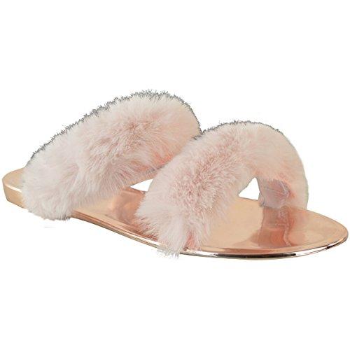 Mode Assoiffée Womens Gelée Dété Flip Flops Fausse Fourrure Taille De La Garniture Pastel Rose Fausse Fourrure