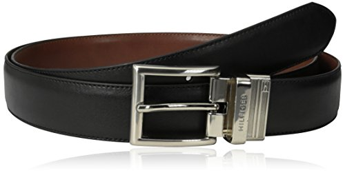 Belt Logoed Buckle Mens (Tommy Hilfiger Men's Dress Reversible Belt With Polished Nickel Buckle,Black/Brown,52)