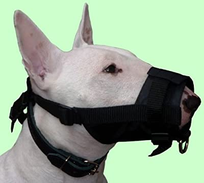 "Adjustable Nylon Dog Muzzle No Bite 10""-13.3"" Size Large, Black, Bullterrier, Boxer, Doberman, German Shepherd"