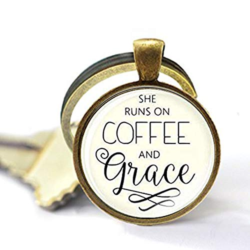 Coffee Grace (Large She Runs On Coffee And Grace Keychain, Christian Pendant Keychain Scripture Christian Keychain Inspirational Gift)