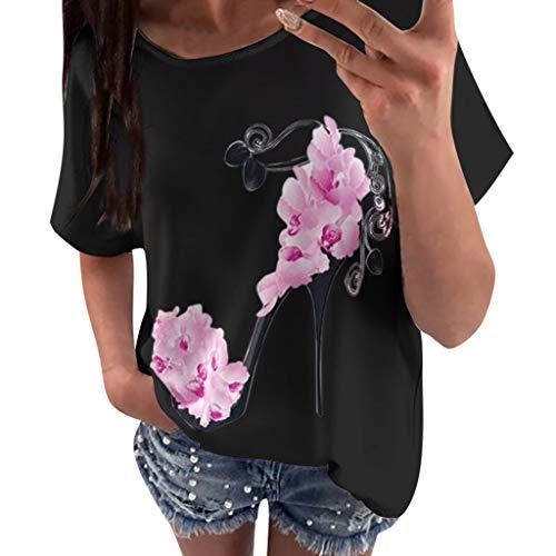 TUSANG Women Tees Short Sleeve High Heels Printed Beach Casual Loose Blouse Top T-Shirt Loose Comfy Tunic(X-Black,US-6/CN-M)