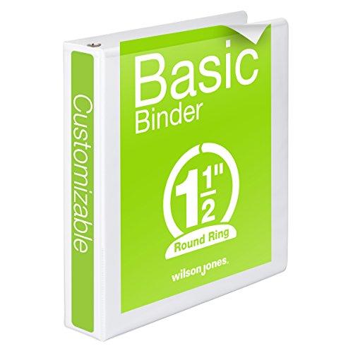 Wilson Jones Round Ring View Binder, 1.5 Inch, Basic, 362 Series, Customizable, White (3 Clear Pockets)