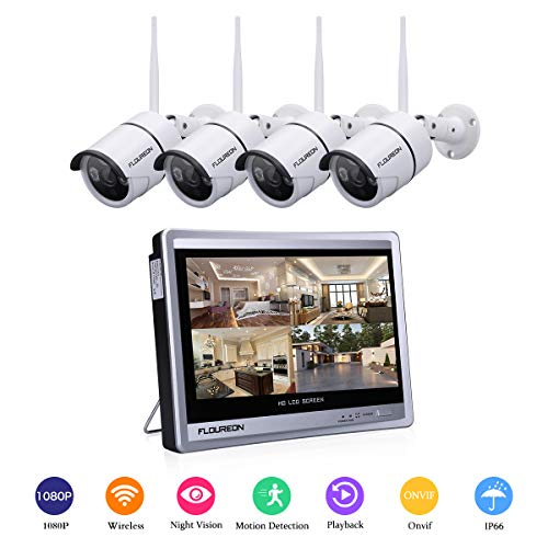 """FLOUREON All in One 4CH 1080P Wireless Security Camera System with 12"""" LCD Monitor NVR Recorder Kit with 4X HD 1080P IP66 Indoor Outdoor IP Cameras, Night Vision, Motion Detection, Easy Remote Access"""