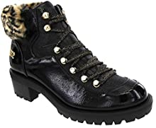 Juicy Couture Women's Indulgence Lace Up Hiker Bootie with Faux Fur Trim Studs and Lug Bottom Black 9.5