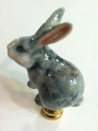 Porcelain Rabbit Finial Gray Bunny Lamp Shade Topper Lampshade Screw by Bethesda Design, LLC (Image #2)