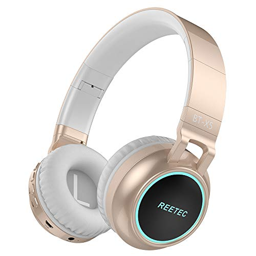 Reetec On Ear Bluetooth Headphones with Mic, Wired and Wireless Headsets, Foldable and Lightweight, Stereo Deep Bass with CVC 6.0 Noise Cancelling and LED Display Support TF Card for Cell Phones Table