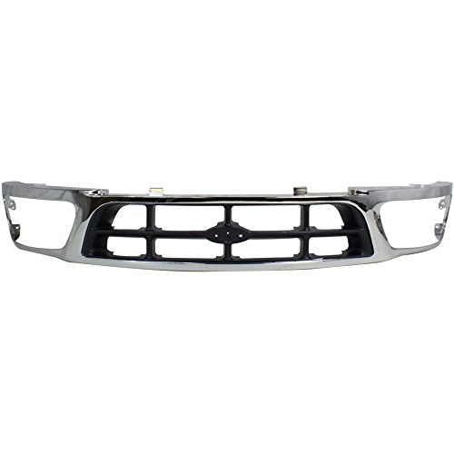 2wd Chrome Grille (Evan-Fischer EVA17772011806 Grille for Ford F-150/F-250 97-98 Cross Bar Chrome Shell/Gray Insert 2WD)