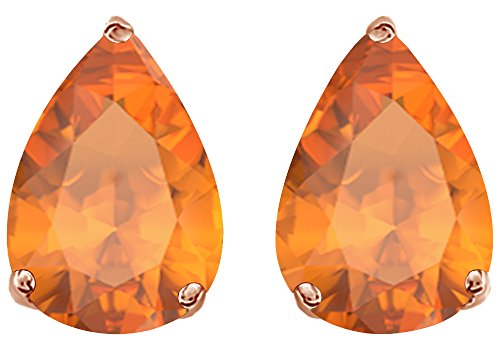 - Simulated Orange Citrine Pear Shape Stud Earrings In 14K Rose Gold Over Sterling Silver (5 Ct)