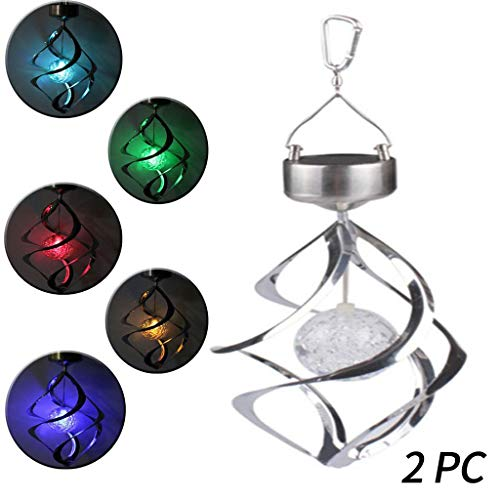 - Solar Revolving Wind Chimes, Stainless Steel Colour Changing Hanging Lights Led Crystal Ball Spiral Spinner Lamp Decoration For Garden, Patio, Balcony Outdoor & Indoor (Rotating Motor)