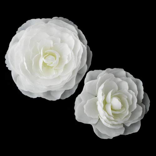 Pair of 2 Spring White or Ivory Flower Wedding Bridal Hair Clip by gingsengparty (Image #1)