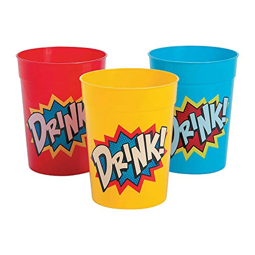 Fun Express - Superhero Plastic Tumblers (dz) - Party Supplies - Drinkware - Re - Usable Cups - 12 Pieces ()