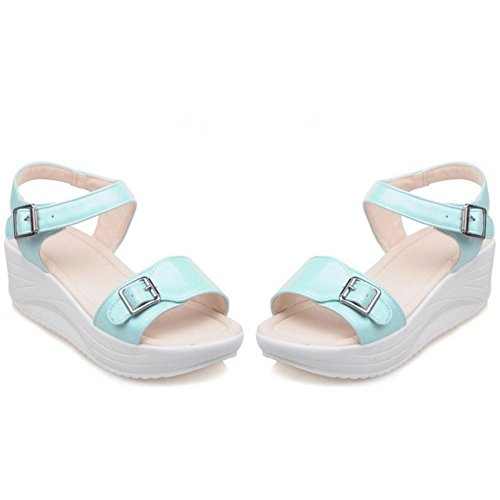 TAOFFEN Mujer Moda Tacon De Cuna Sandalias Punta Abierta Al Tobillo Zapatos De Hebilla Azul