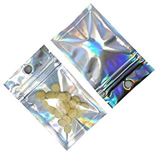 200 Pcs Clear Airtight Mylar Zipper Lock Bags with Hang Hole Resealable Smell Proof Pouch Rainbow Color Aluminum Foil Bags for Zip Food Storage Lock Bags Sample Packet (6x10cm (2.3x3.9 inches))