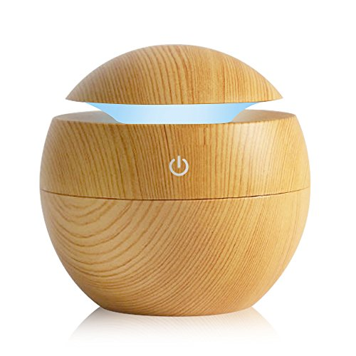 KBAYBO Humidifier Aroma Essential Oil Diffuser, 130ml Ultrasonic Cool Mist Humidifier with LED Night Light For Office Home Bedroom Living Room Study Yoga Spa (light wood)