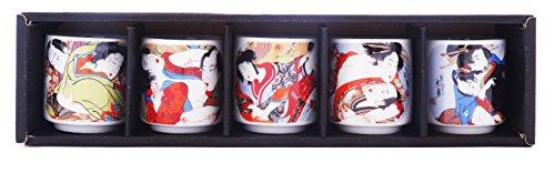 5 PCS CERAMIC JAPANESE SAKE CUPS GUINOMI (EROTIC ART) by Japan Good Products (Image #7)