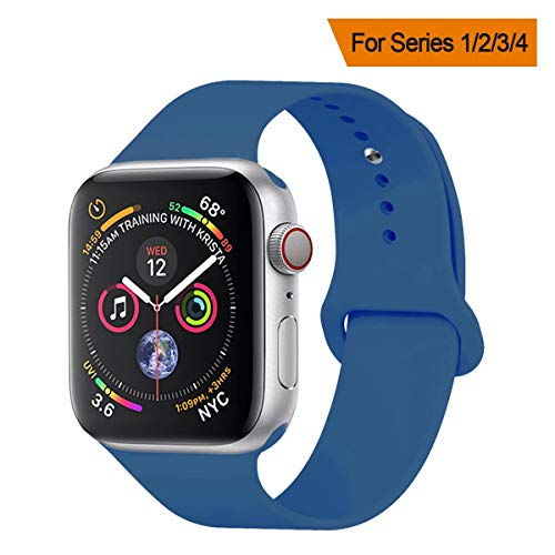 YANCH Compatible with for Apple Watch Band 38mm 40mm, Soft Silicone Sport Band Replacement Wrist Strap Compatible with for iWatch Nike+,Sport,Edition,S/M,Ocean Blue