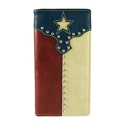 Flag Long Wallet - Texas Flag Long Wallet Check Book Blue Red and White