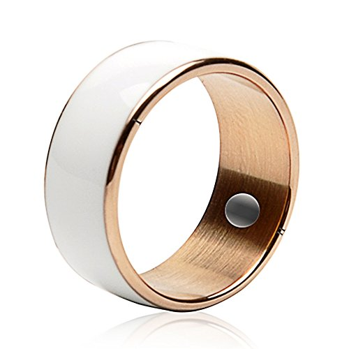 60mm White Titanium Waterproof App Enabled Smart Ring NFC Smart Ring for Android Windows NFC Mobile Phones Samsung Sony by Sopear