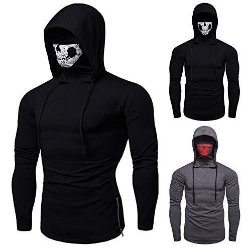 (yanbirdfx Stretch Fitness Men Ninja Clothes Hooded Long-Sleeved Hoodie Skull Mask - Grey XL)