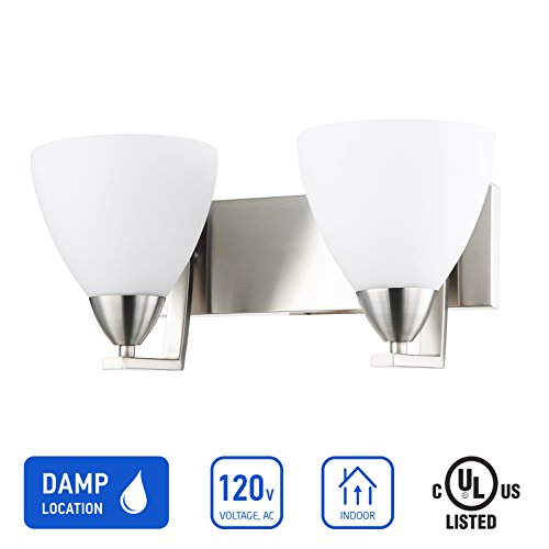 IN HOME 2-Light VANITY/BATHROOM FIXTURE VF13, Satin Nickel Finish with Opal Glass Shade, UL listed