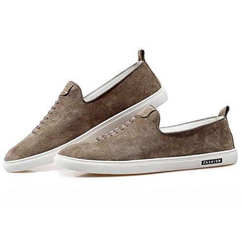Heart&M retro cuero genuino corte bajo respirable gamuza los hombres zapatos skater Khaki