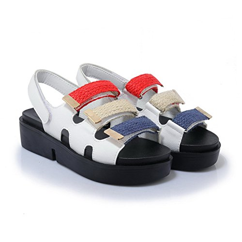 AN Womens Assorted Colors Contrast-Stitching Travel Urethane Platforms Sandals DIU00958 White NhiJW