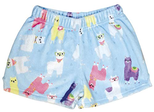iscream Big Girls Silky Soft Print Plush Shorts - Glama Llama, Small (6/8)