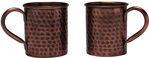 Melange Set of 2 Antique Finish 24 oz Copper Classic Mug for Moscow Mules - 100% Pure Hammered Copper - Heavy Gauge - No Lining - Includes Free Recipe Card by Melange