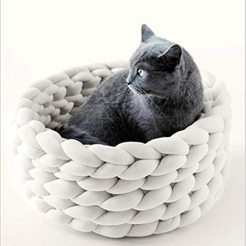 MARIS Hand-woven washable pet nest pure color cat dog cotton soft pet bed,White,S