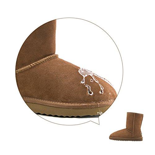 Shenduo Herren Wasserdicht Winterstiefel Schlupfstiefel Leder Boots D5625 Chestnut 41