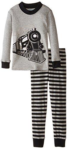 - Sara's Prints Little Boys' Long John Pajamas, Black Stripe/Train, 2