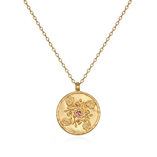 Satya Jewelry Pink Tourmaline Gold Plate Marigold October Flower Birthstone (18-Inch) Pendant -