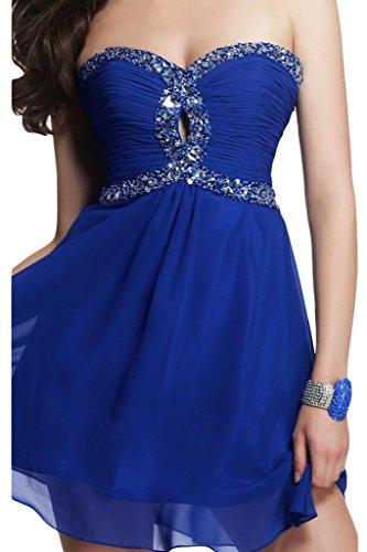 Toscana novia forma de corazón encantador de los vestidos de noche cortos de gasa vestidos de dama de regreso al hogar del cóctel Azul Real