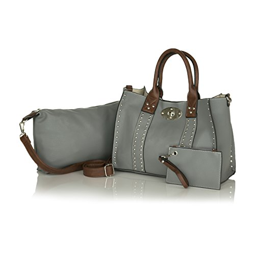 Grey Faux Leather Structured Satchel, Right And Left Hand Concealed Carry Tote