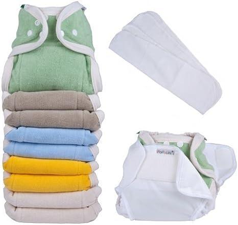 Popolini - Juego de pañales de tela (100% algodón orgánico de GOTS, para niños de 3 a 15 kg, incluye rollo de fieltro de 100 unidades), varios colores: Amazon.es: Bebé
