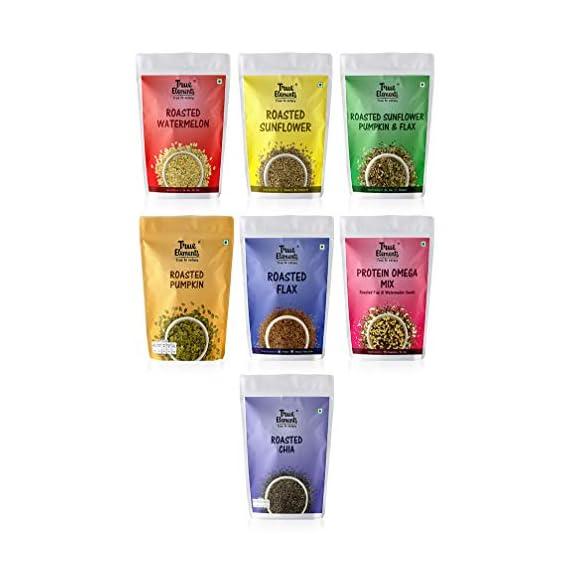 True Elements Roasted Seeds Healthy Snack Combo, 875g (Sunflower Seeds, Pumpkin Seeds, Watermelon Seeds, Flax Seeds, Chia Seeds, 125gm*7)
