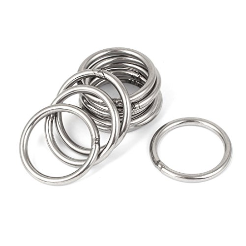 uxcell M5 x 50mm 201 Stainless Steel Strapping Welded Round O Rings 10 Pcs