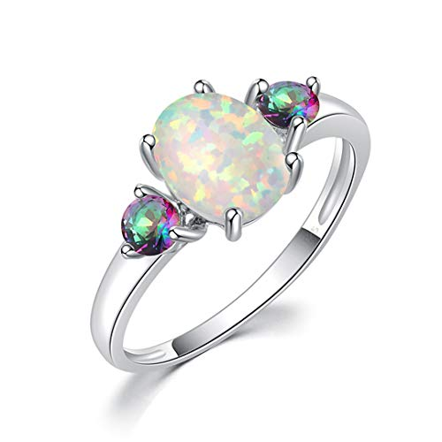 - MARRLY.H White Fire Opal Finger Rings with Stone Silver Plated Rainbow Mystic Zirconite Bohemia Summer Jewelry Gift for Woman White 11