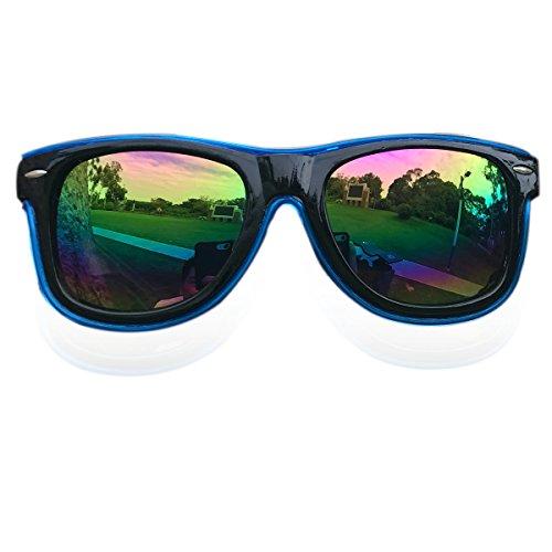El Wire Glow Sun Glasses Led DJ Glasses Voice control led flashing glasses (Blue, - El Wire Sunglasses