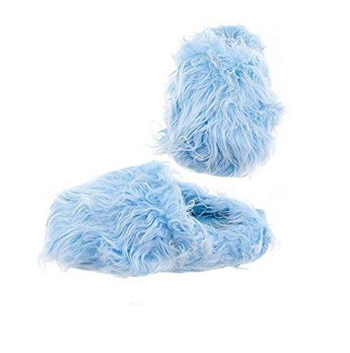 Pantofole Da Donna Sfilacciate Comode Pantofole In Eco Pelliccia Blu