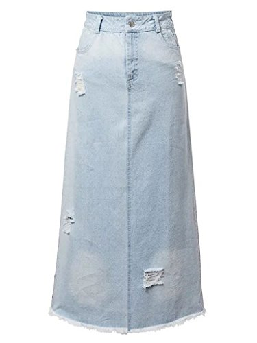 CHARLES RICHARDS Women's Medium Stonewash Slip Pockets Juniors Long Denim Maxi Jean Skirt