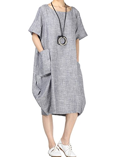 Mordenmiss Women's Cocoon Midi Dress Bubble Hem Tunic w/Hi-Low Pockets 2XL Blue Gray