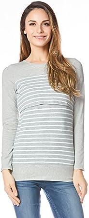Bearsland Women's Maternity Striped Nursing Shirt Breastfeeding