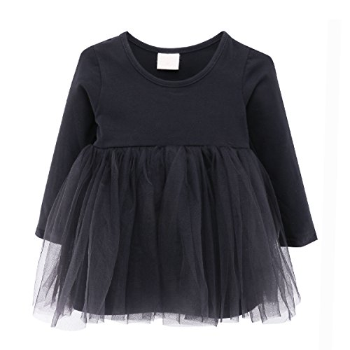 Baby Girl Dress Toddler / Kids Pleated Princess Tutu Skirt with Tshirt Top;Black;12-18M