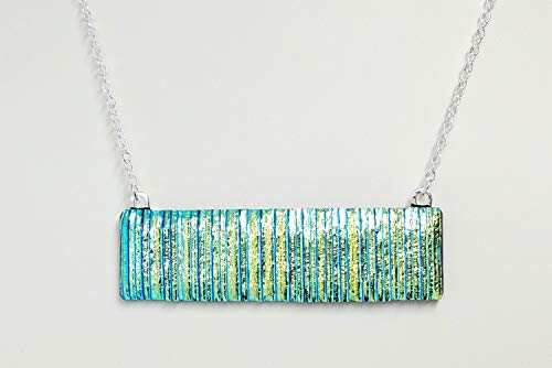 Blue Green Striped Dichroic Fused Glass ()
