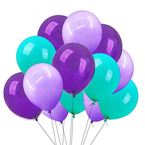 CREATEASY Mermaid Party Balloons Aqua Blue Light Purple Dark Purple Balloons 12