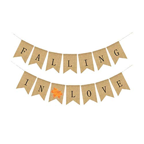 JINMURY Falling in Love Burlap Bunting Banner, Thanksgiving Decor Happy Autumn Home Decor Wedding Party Decoration.]()