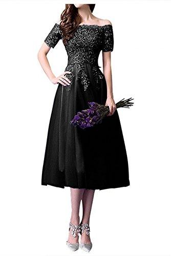 Schwarz Spitze Promkleider Romantisch Damen Abendkleider Partykleider Wadenlang Tuell Charmant qT478wn