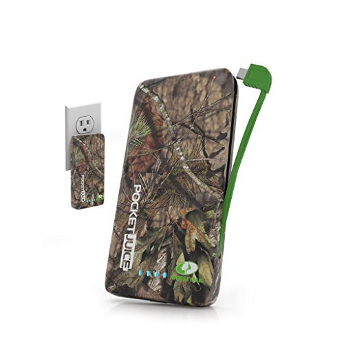 Tzumi PocketJuice Endurance AC - Mini Portable Device Battery Pack Charger - 4,000 mAh High-Speed USB Port with Built in MicroUSB Cable - Compatible with iPhone & Android (Mossy Oak)