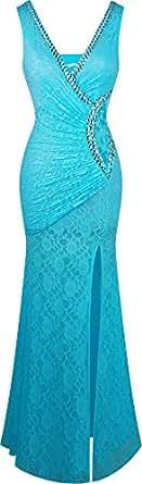 Angel-fashions Women's V Neck Lace Split Ruffled Beading Sheath Dress Small Light Blue